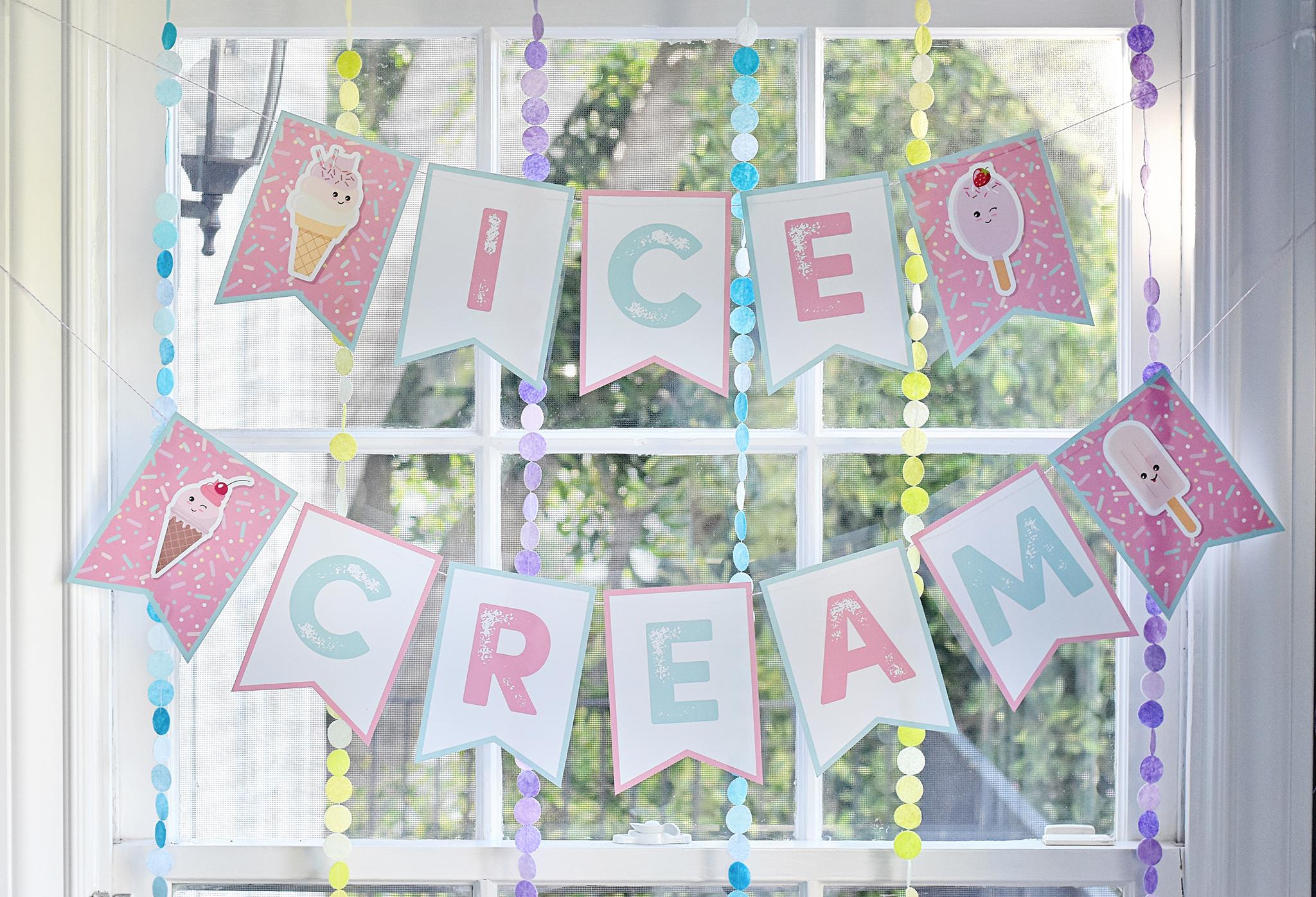 Kawaii Ice Cream Banner