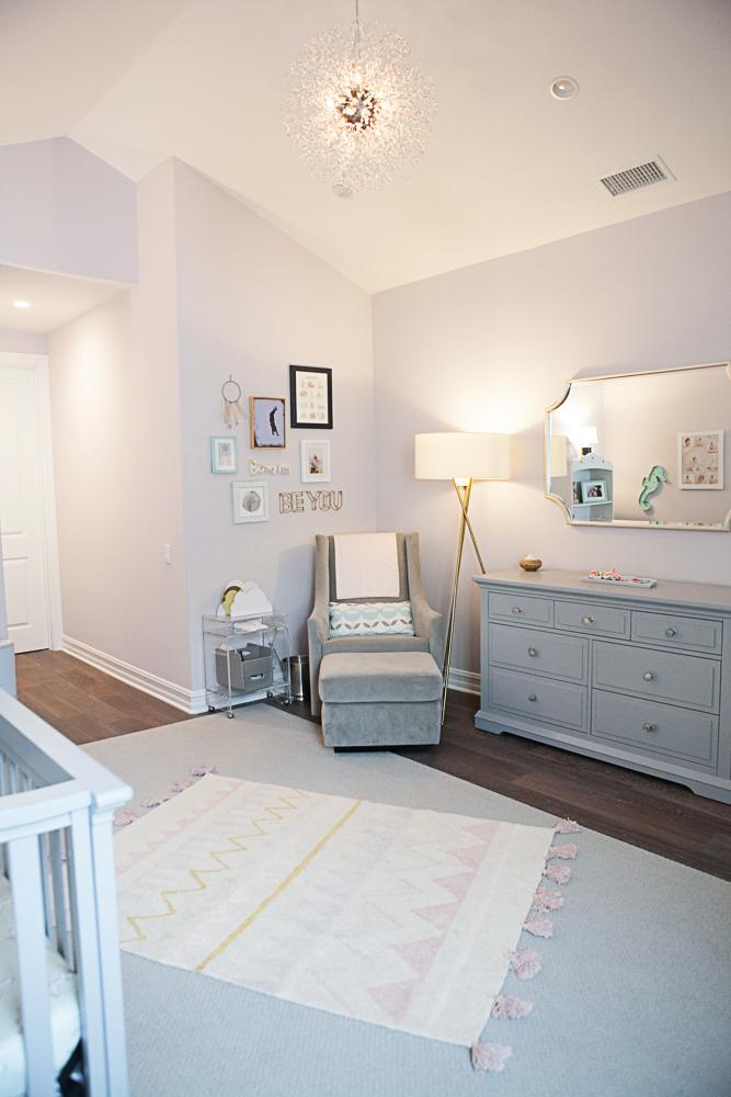 Feminine Pink and Gray Girls Nursery