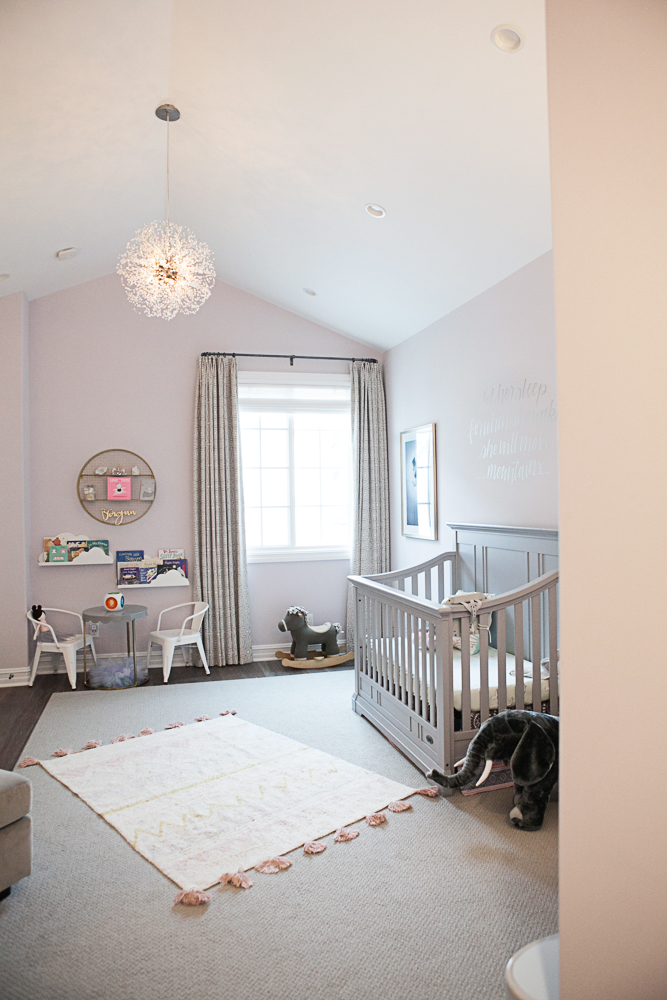 Feminine Pink and Gray Girls Nursery
