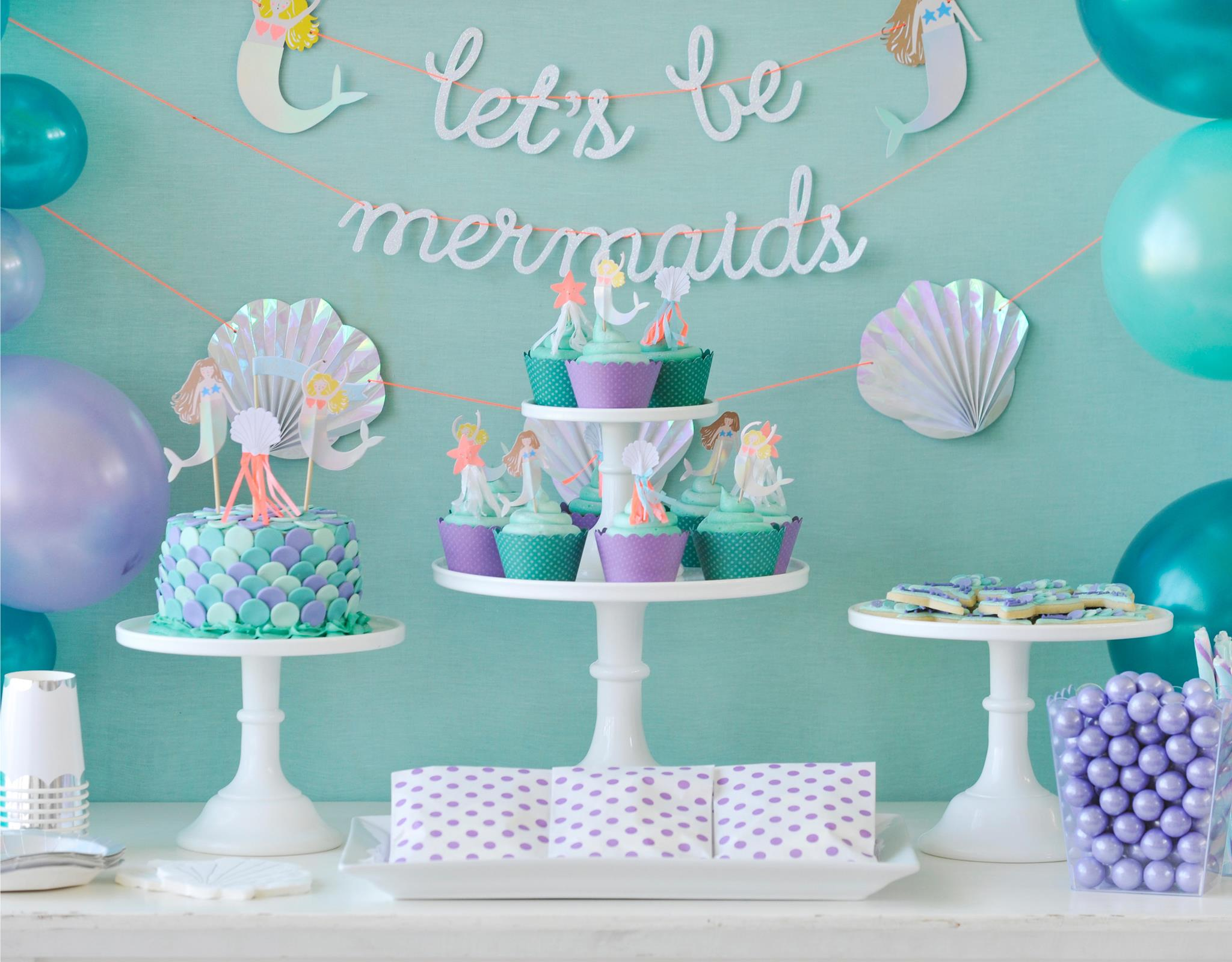 Lovely Mermaid Party Garland and Desserts Project Nursery