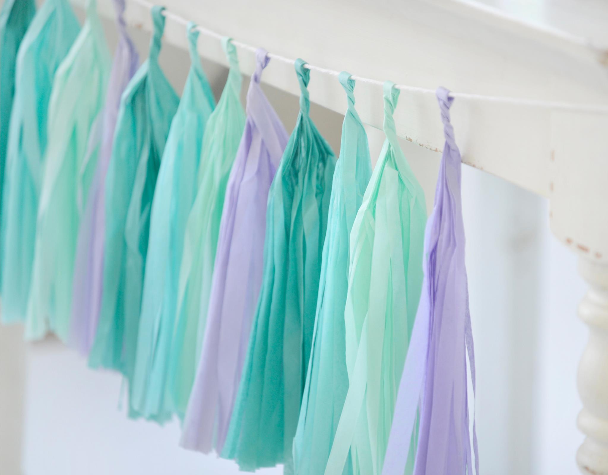Mermaid Party Tissue Paper Tassel Garland - Project Nursery