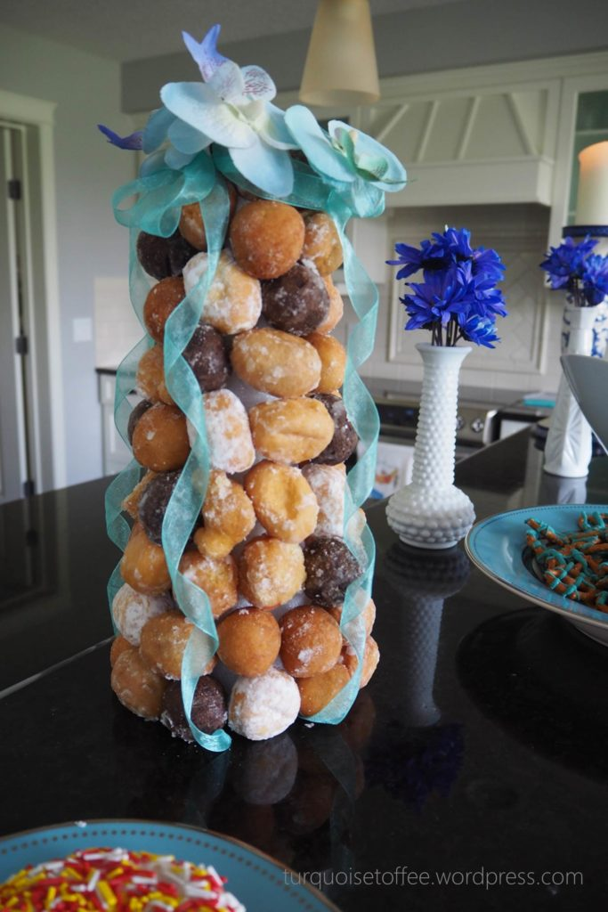 Turquoise Baby Sprinkle doughnut donut tower