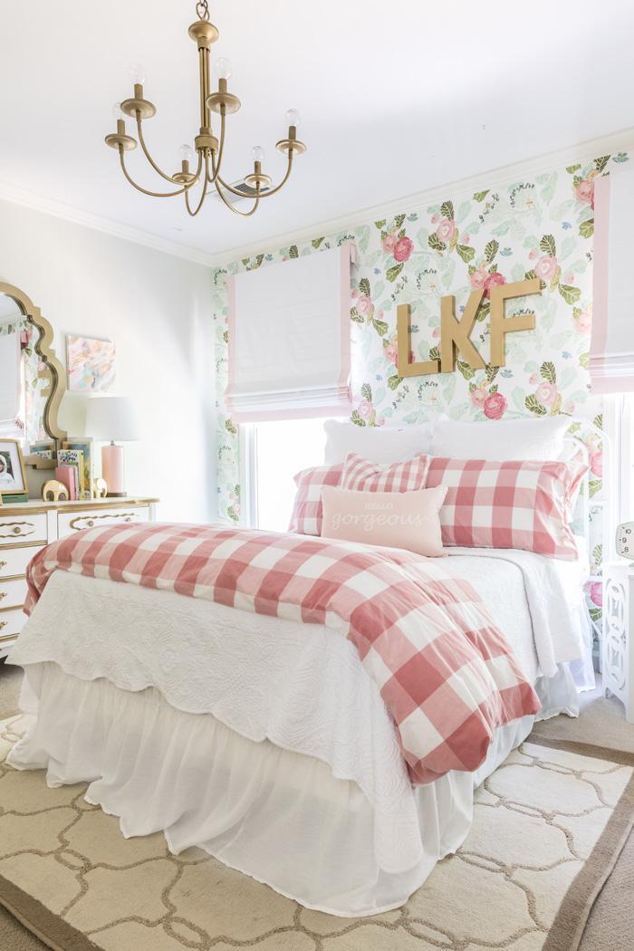 Floral and Buffalo Check Big Girl Room - Project Nursery