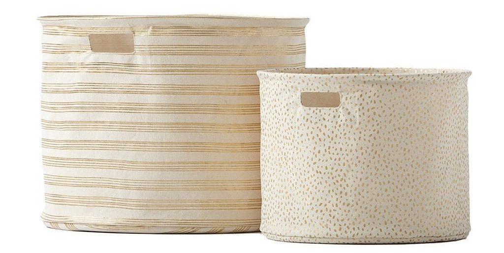 Gold Foil Stripe Drum Basket