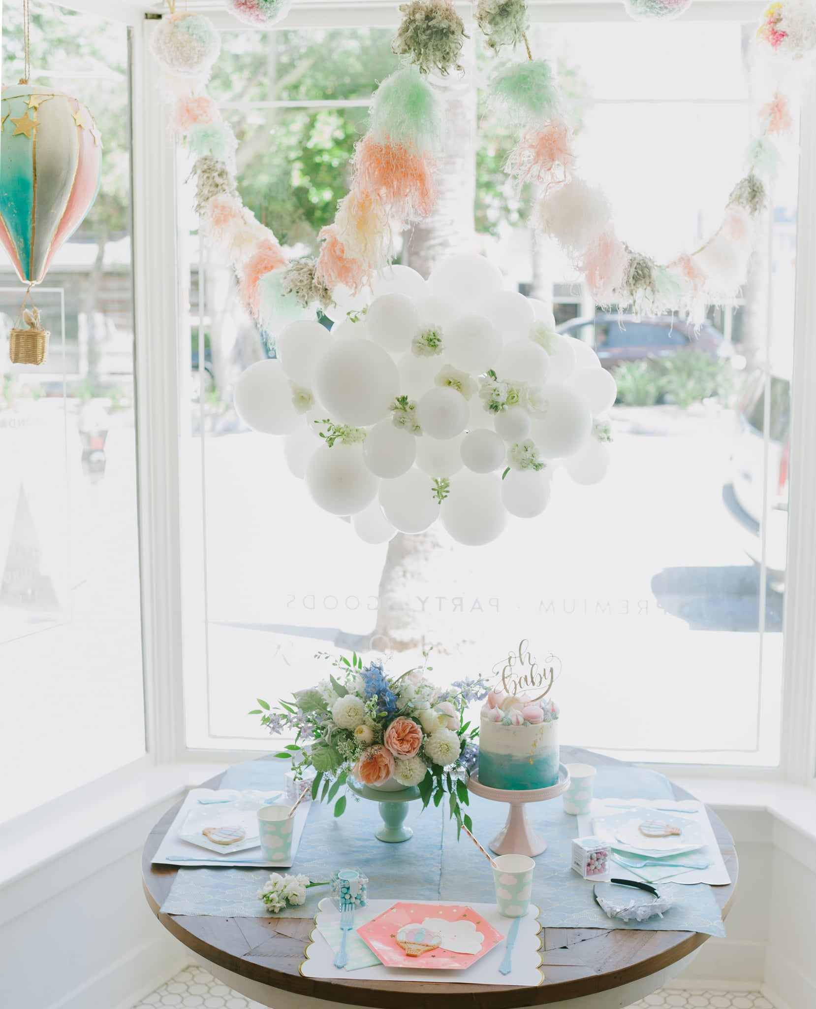 Hot Air Balloon Baby Shower Tablescape And Cloud Balloon   Project Nursery
