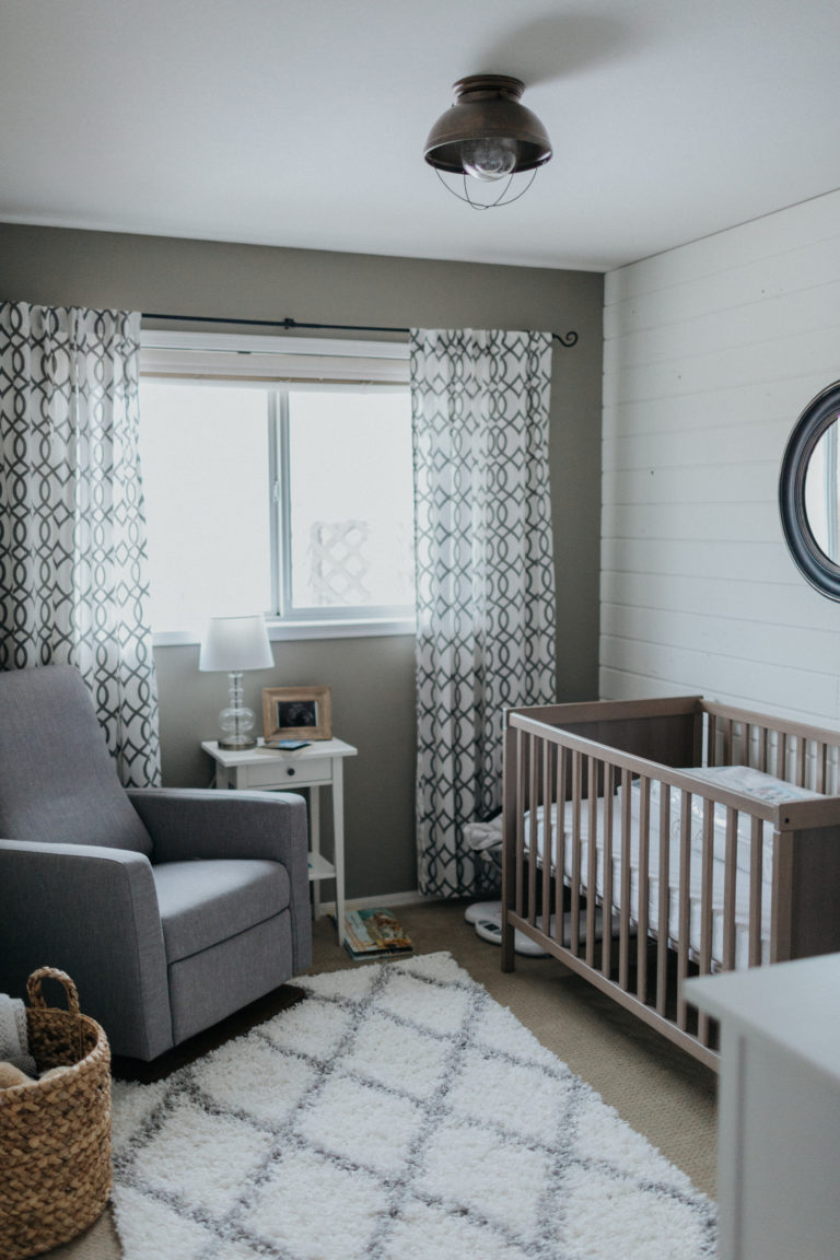 Rustic Farmhouse Nursery with Shiplap Accent Wall