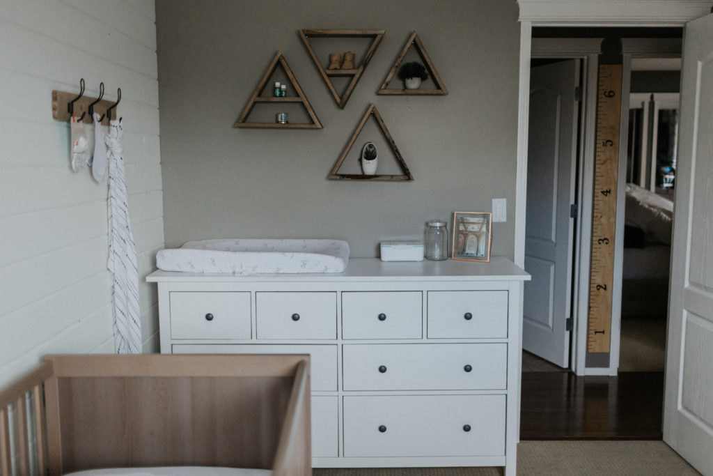 Rustic Farmhouse Nursery Dresser with Triangle Shelves