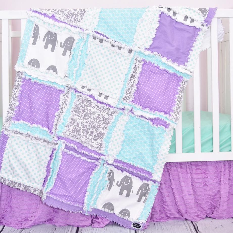 Purple Elephant Crib Quilt