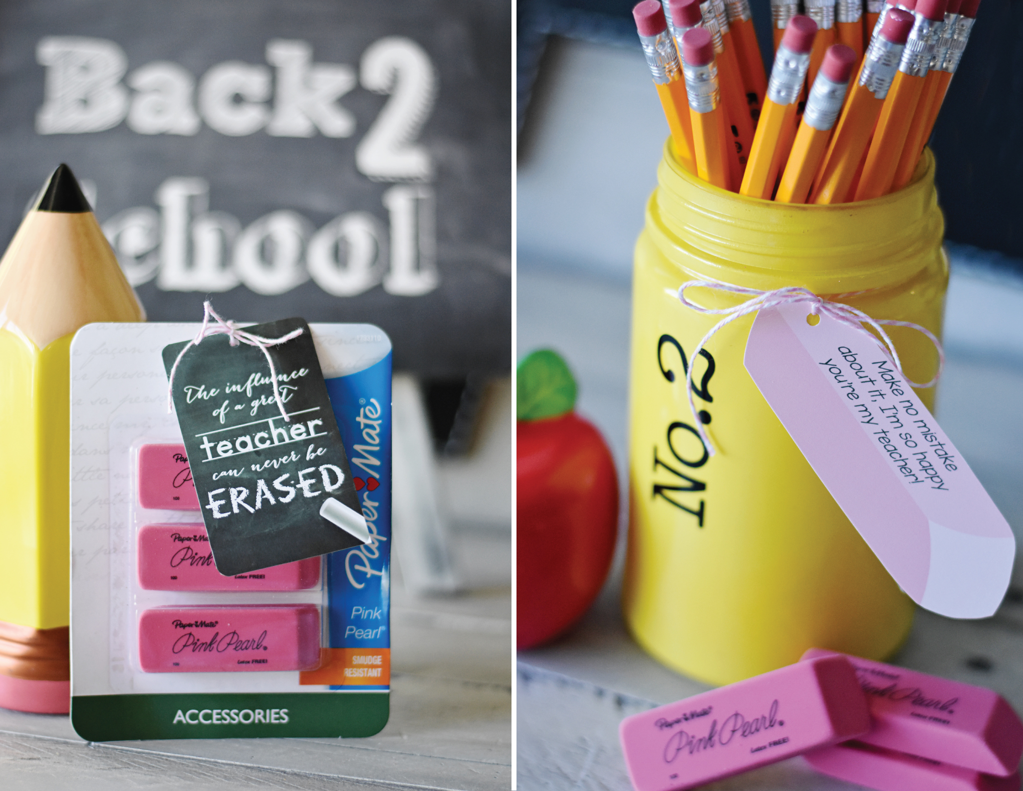 Pencil and Erasers Back to School Teacher Gift