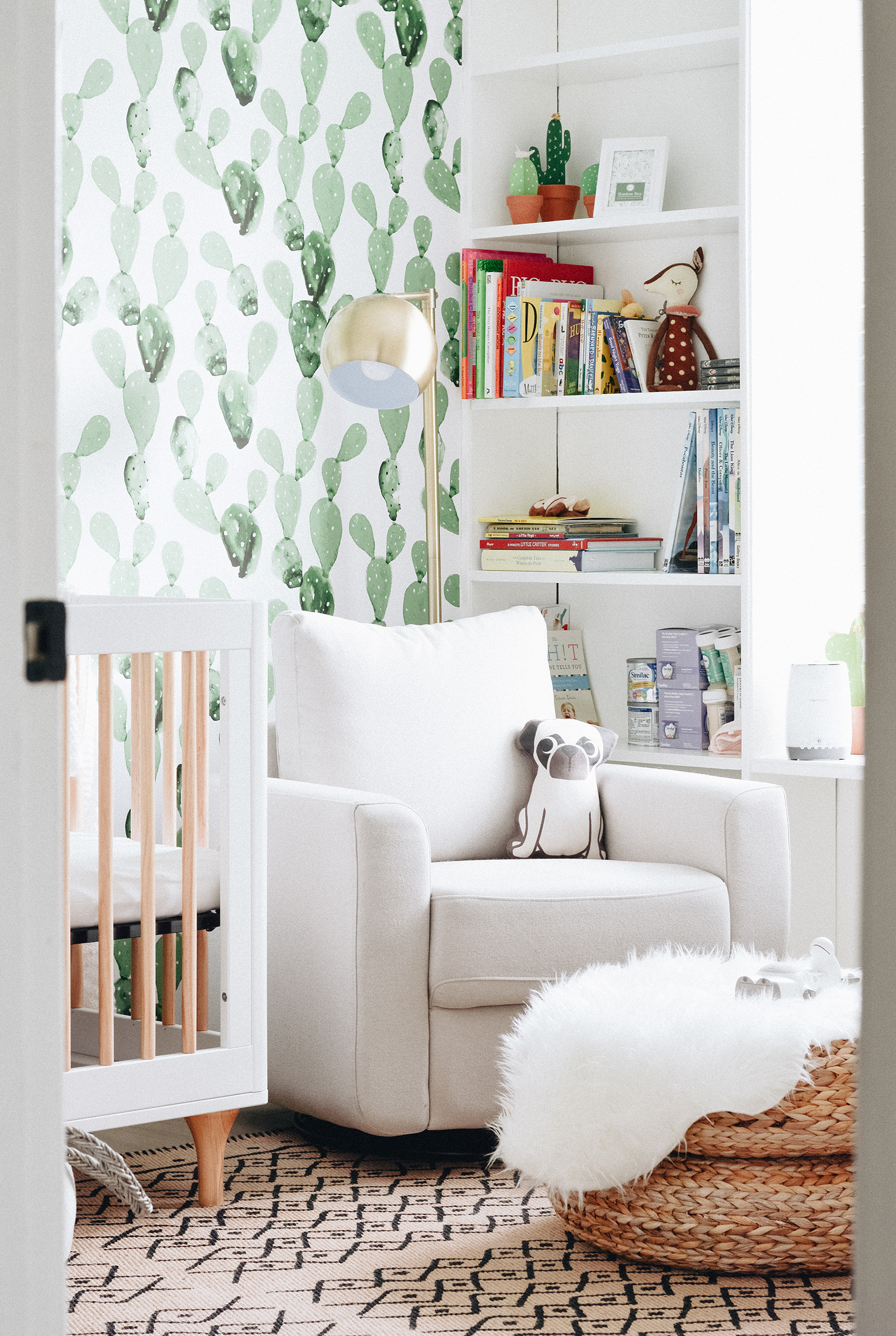 Eclectic and Whimsical Nursery with Cacti Wallpaper - Project Nursery