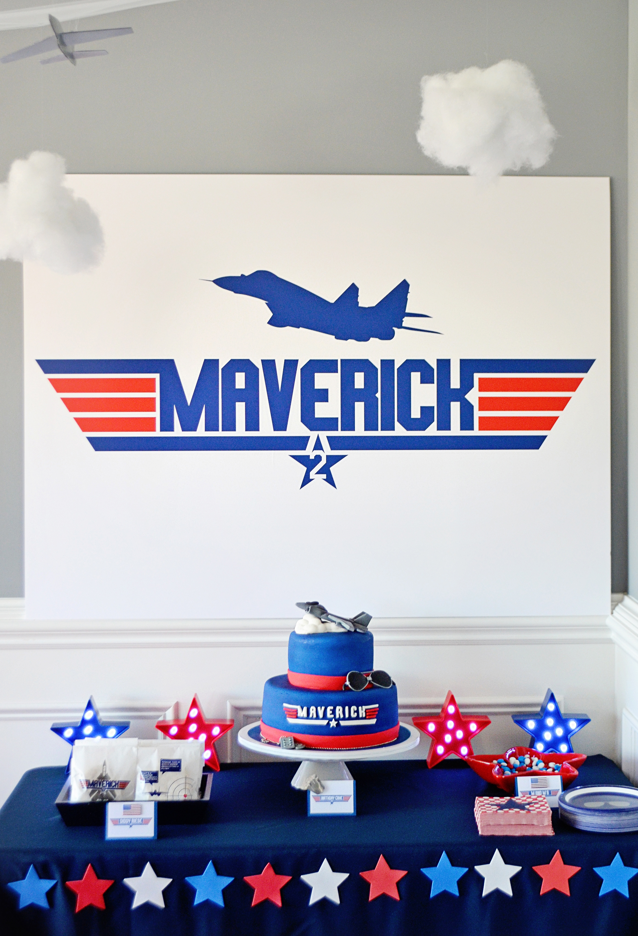 Custom Name Logo Backdrop and Cake table set-up - Project Nursery