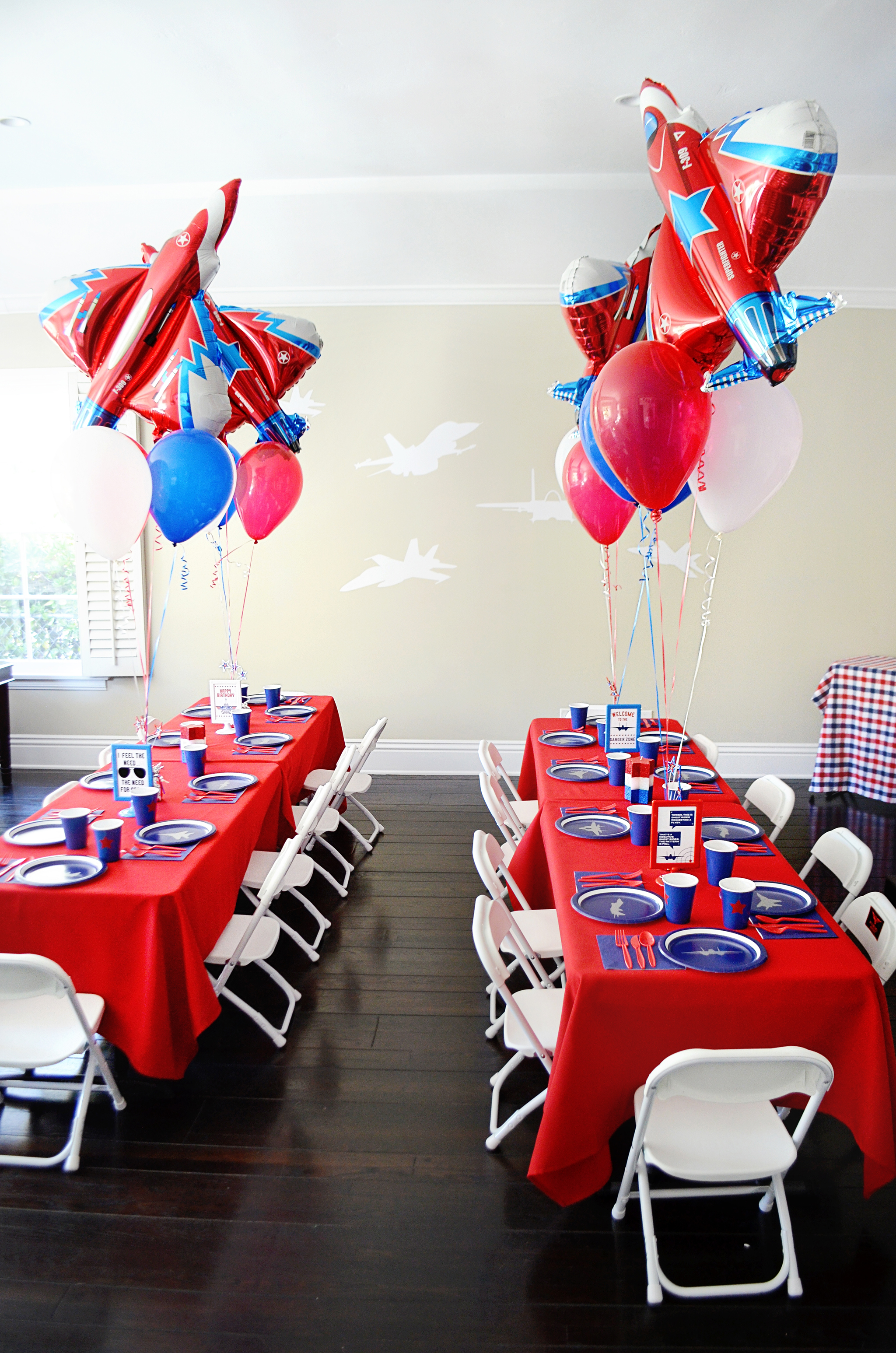Airplane balloons and fighter pilot plates - Project Nursery