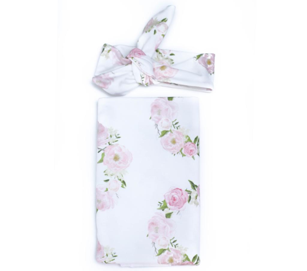 Romantic Wreath Swaddle Blanket + Headband Set - The Project Nursery Shop