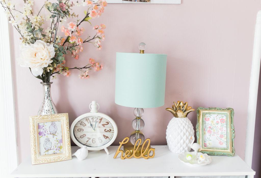 girl nursery, eclectic decor, pineapple, flamingo, birds, flowers, aqua lamp, vintage clock, frames, gold, pink, chic, vintage,