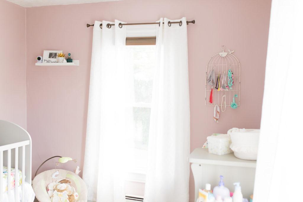 changing table, white curtains, girl nursery, tjmaxx, michaels, rolling cart, target, headband holder, birds