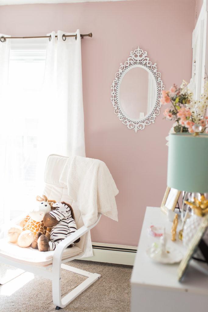 goodwill, mirror, princess, poang chair, ikea, girl nursery, chic, classic, vintage