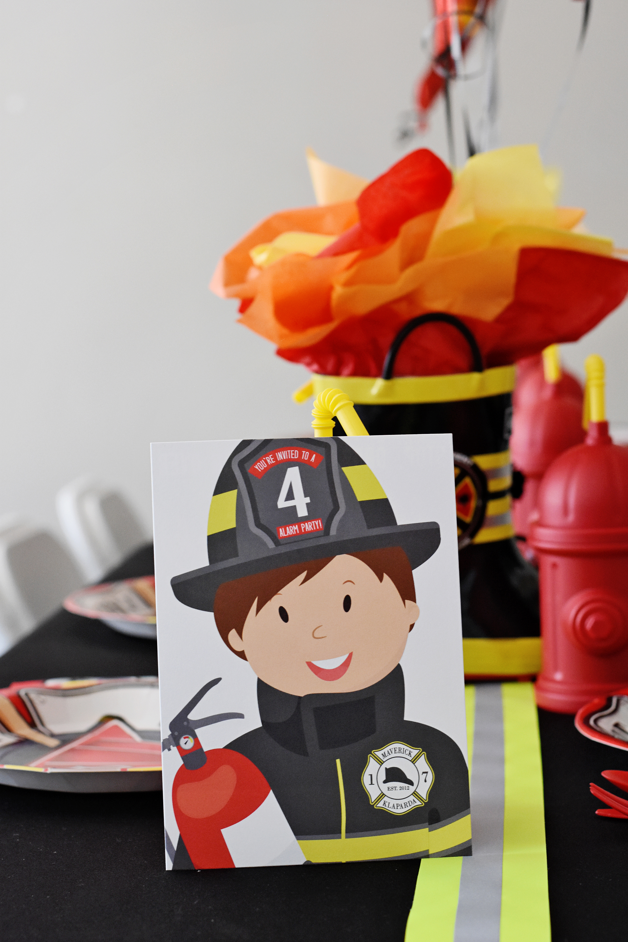 Printable Firefighter Fire Truck Party Invitations