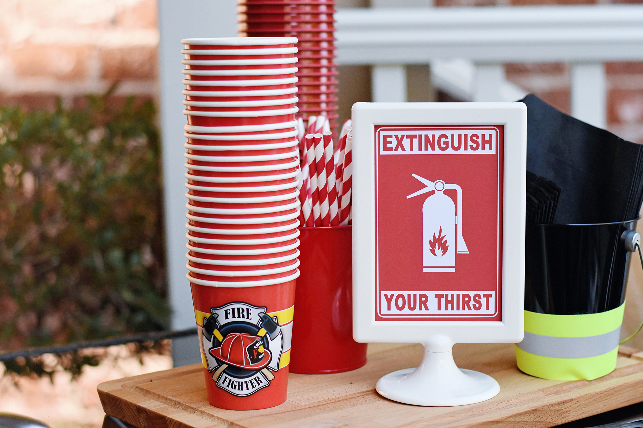 Extinguish Your Thirst at the Beverage Station! Firefighter Birthday Party
