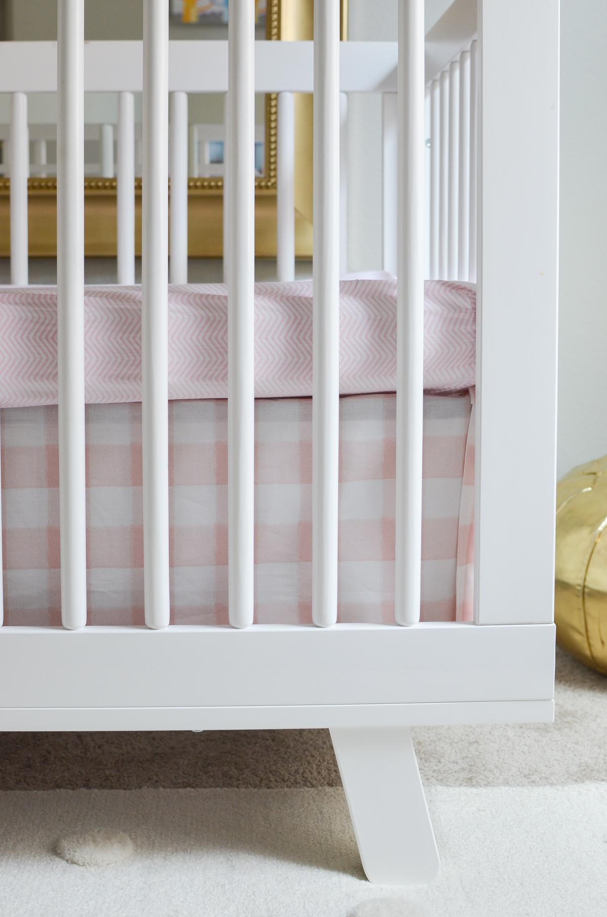Pink Crib Skirt and Crib Sheet