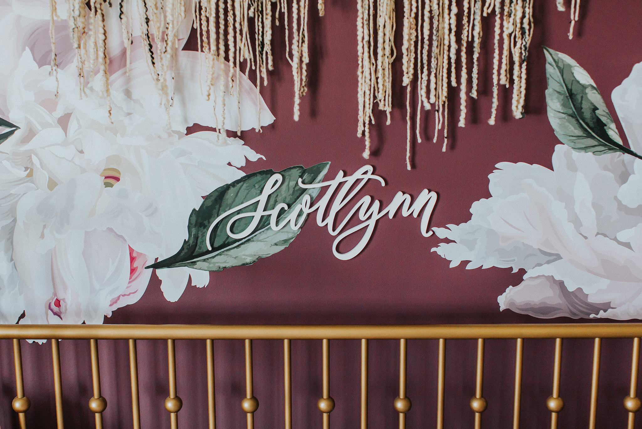 Custom Wood Name Art in Boho Girl's Nursery