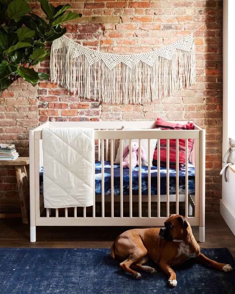 Boho Wall Hanging with Abstract Crib Sheet