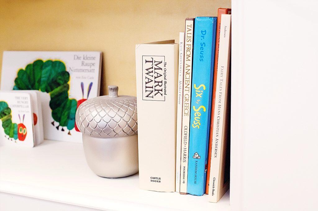 details of nursery bookshelf