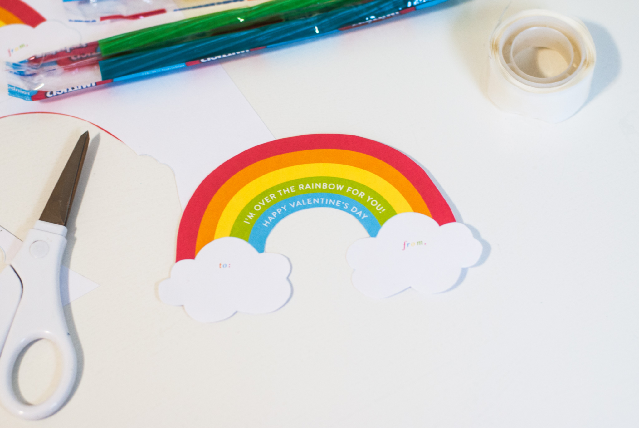 FREE Printable Rainbow Valentine's Day Cards