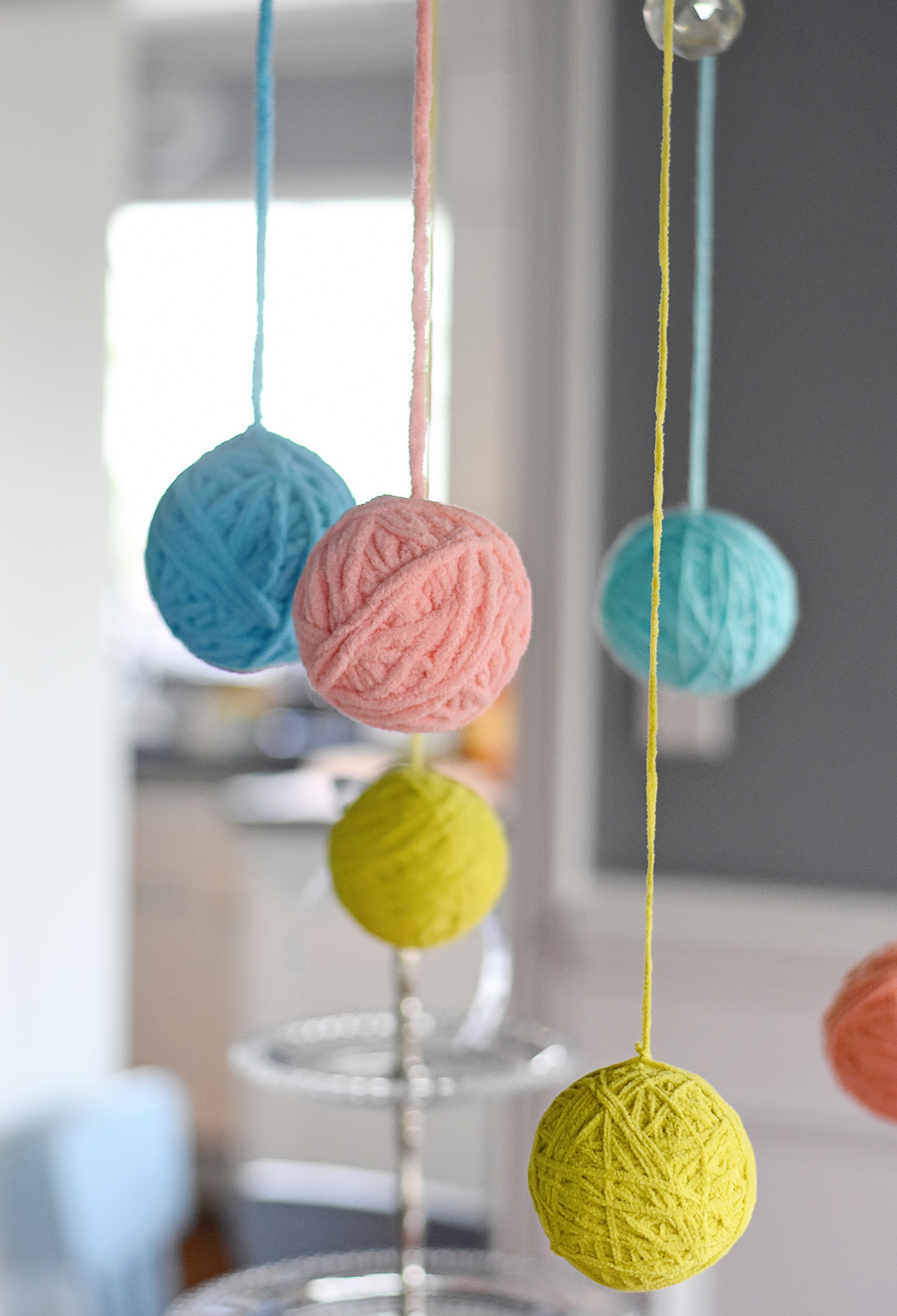 wrap Styrofoam balls with yarn!