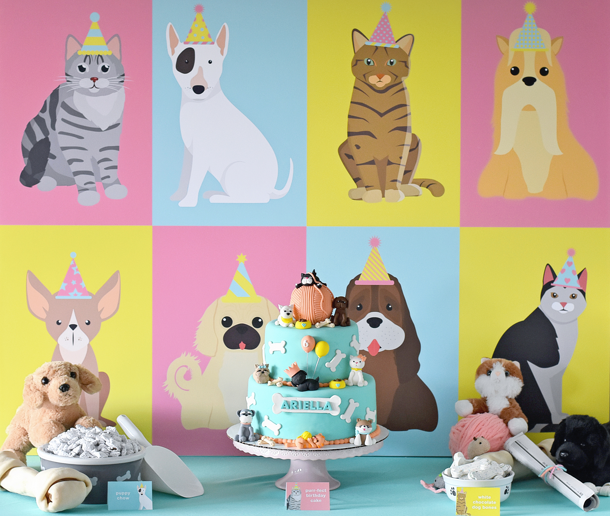 Cake table with the purr-fect graphic print backdrop!