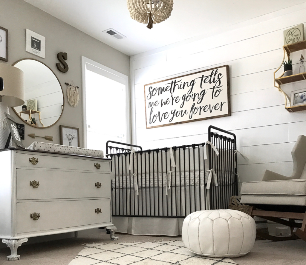 Neutral Nursery with Framed Quote on Shiplap Wall