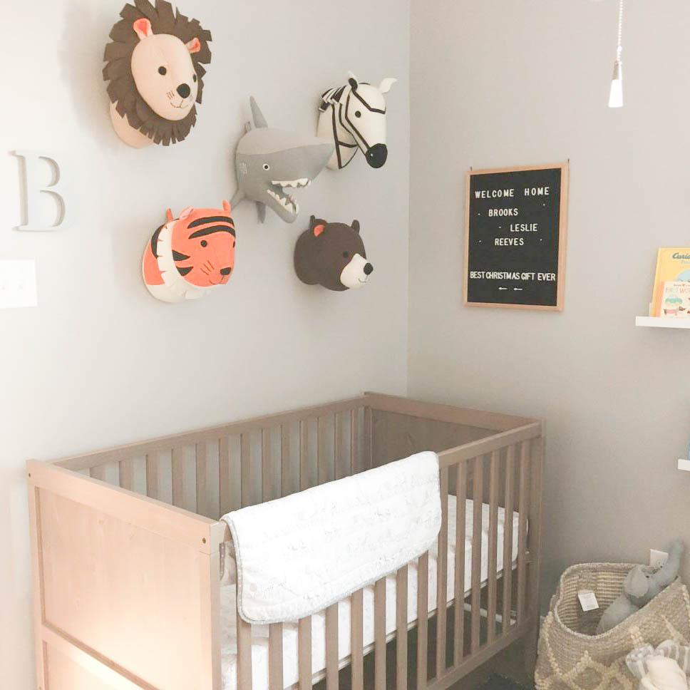 Brook's Navy and Gray Animal Nursery