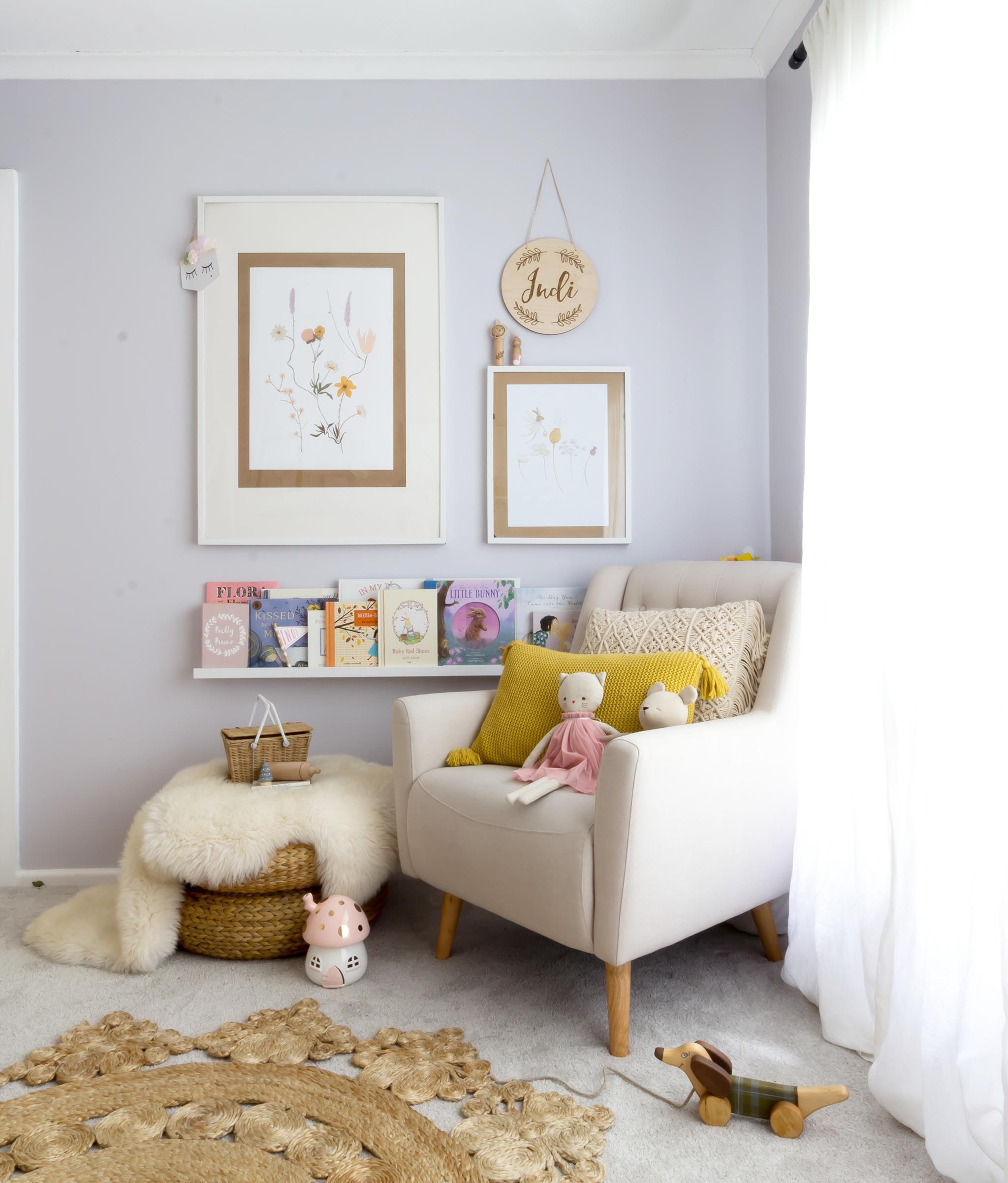 Reading Nook in Girl's Toddler Room