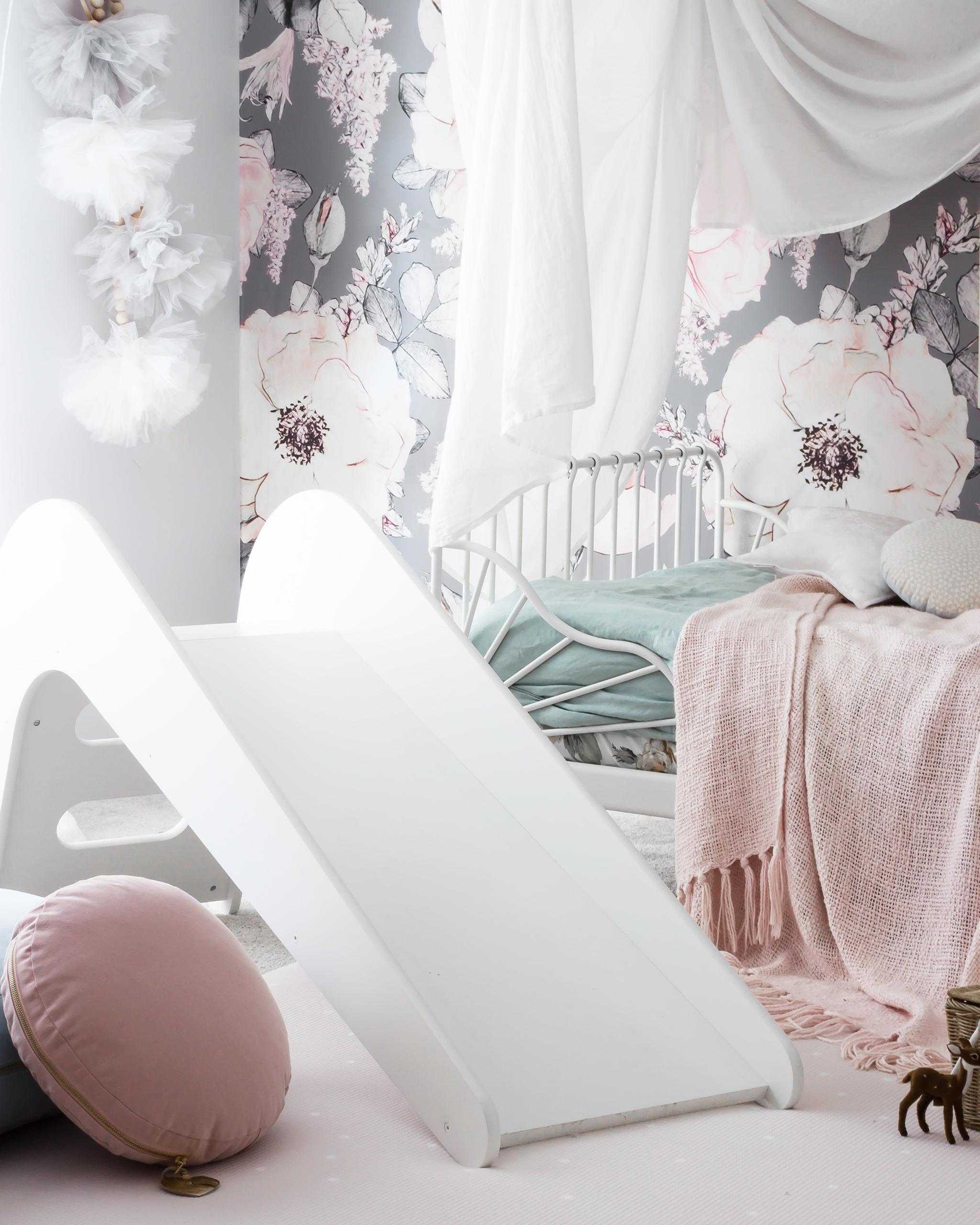 Floral Girl's Toddler Room with Slide