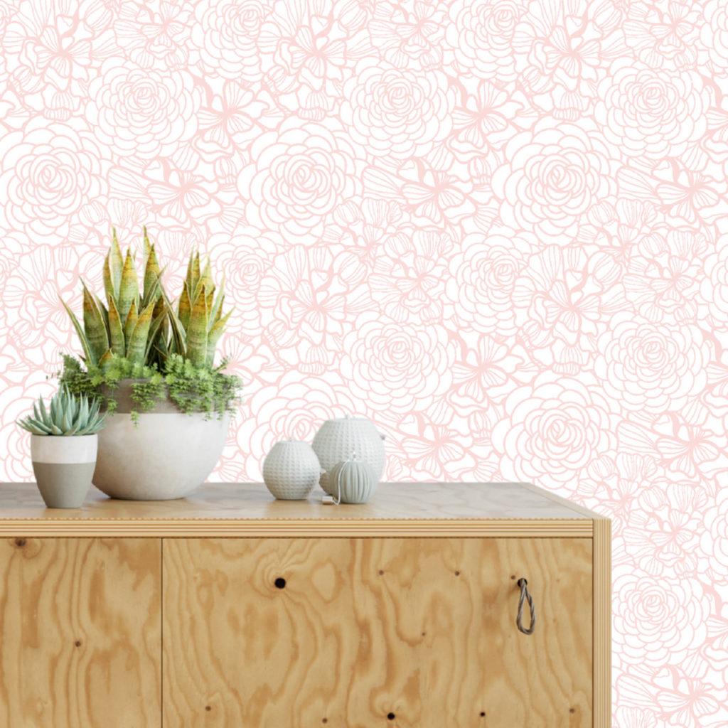 NEw SHop Blush Pink Flower Self-Adhesive Wallpaper
