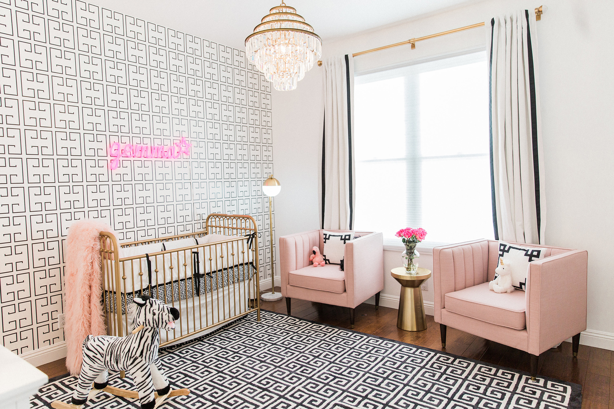 Black, White and Pink Hollywood Regency Glam Nursery