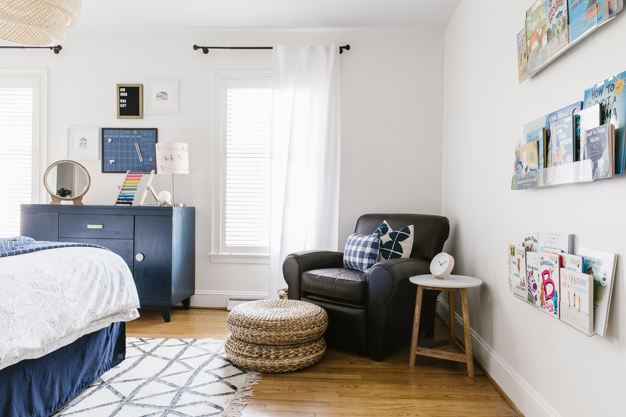 Vintage Inspired Boys Room with Leather Club Chair
