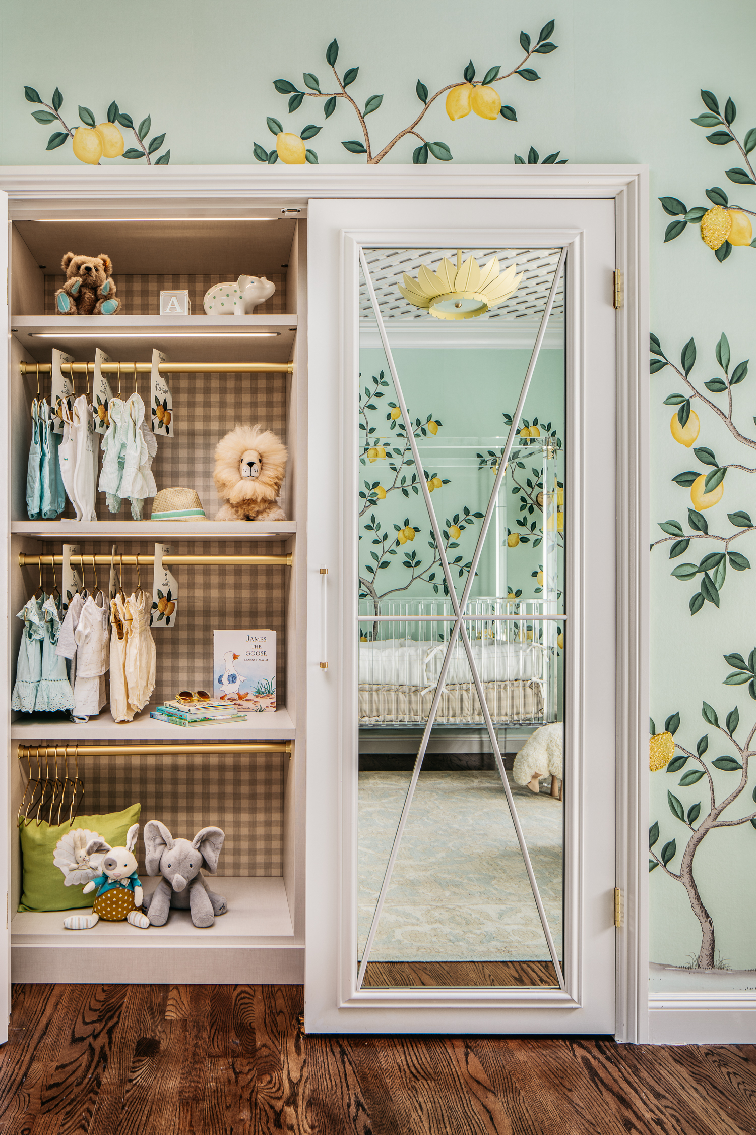 Nursery Closet with Mirrored Doors
