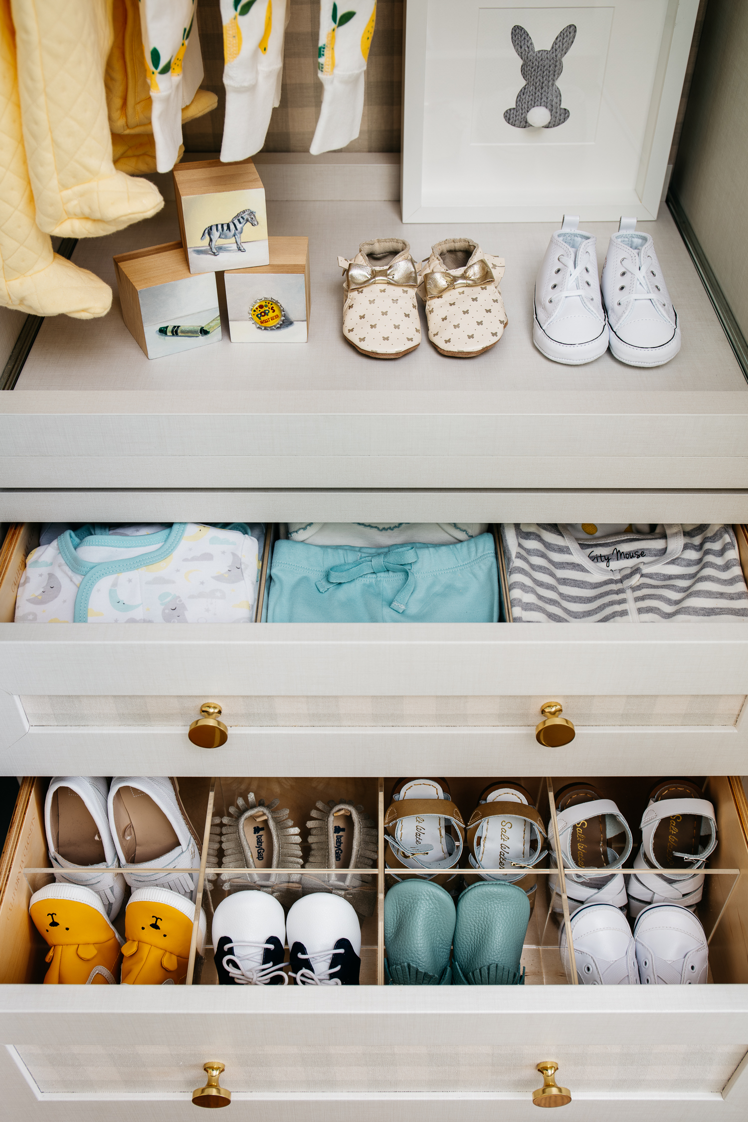 Organized Baby Shoes in Drawers