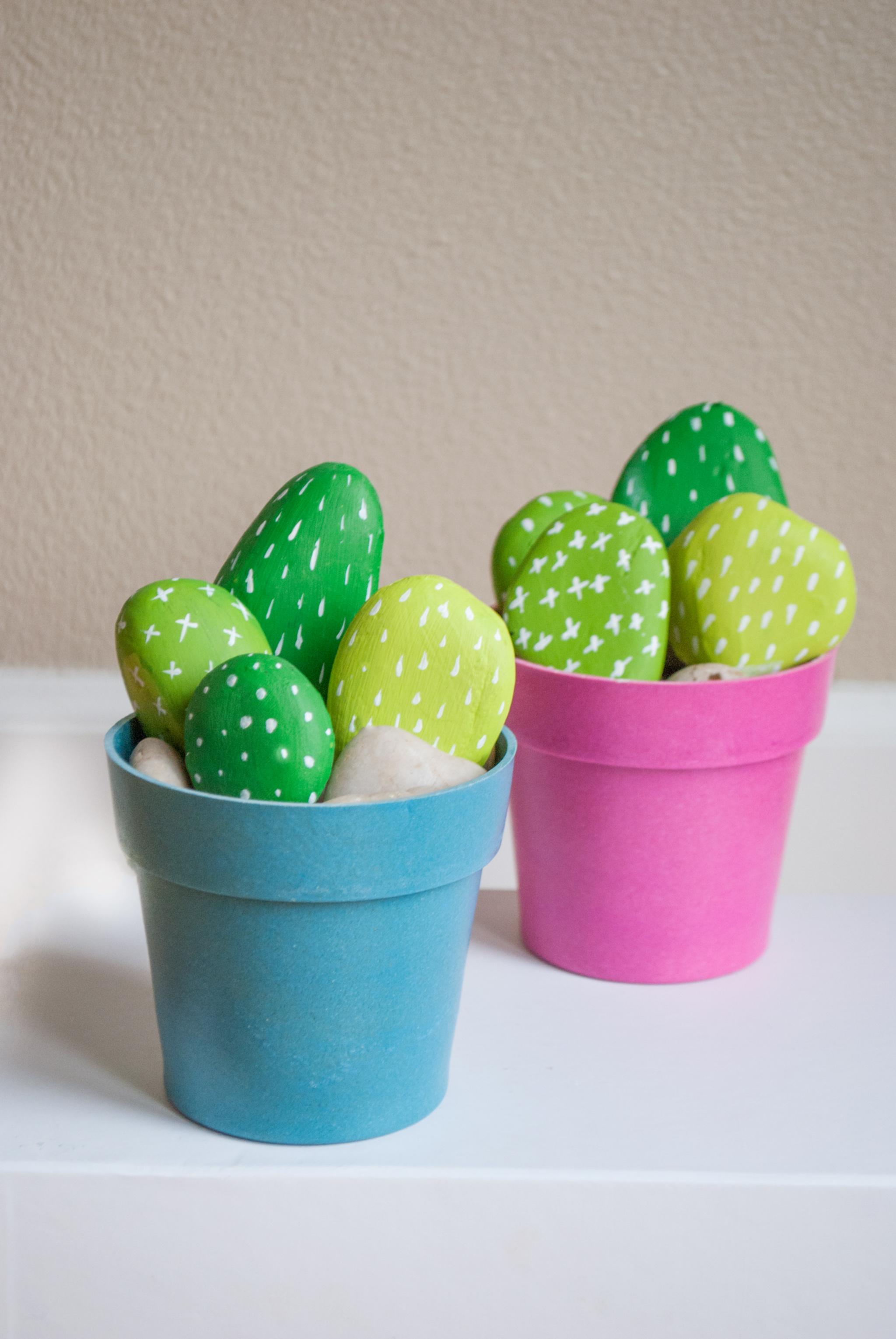DIY Painted Rock Cactus