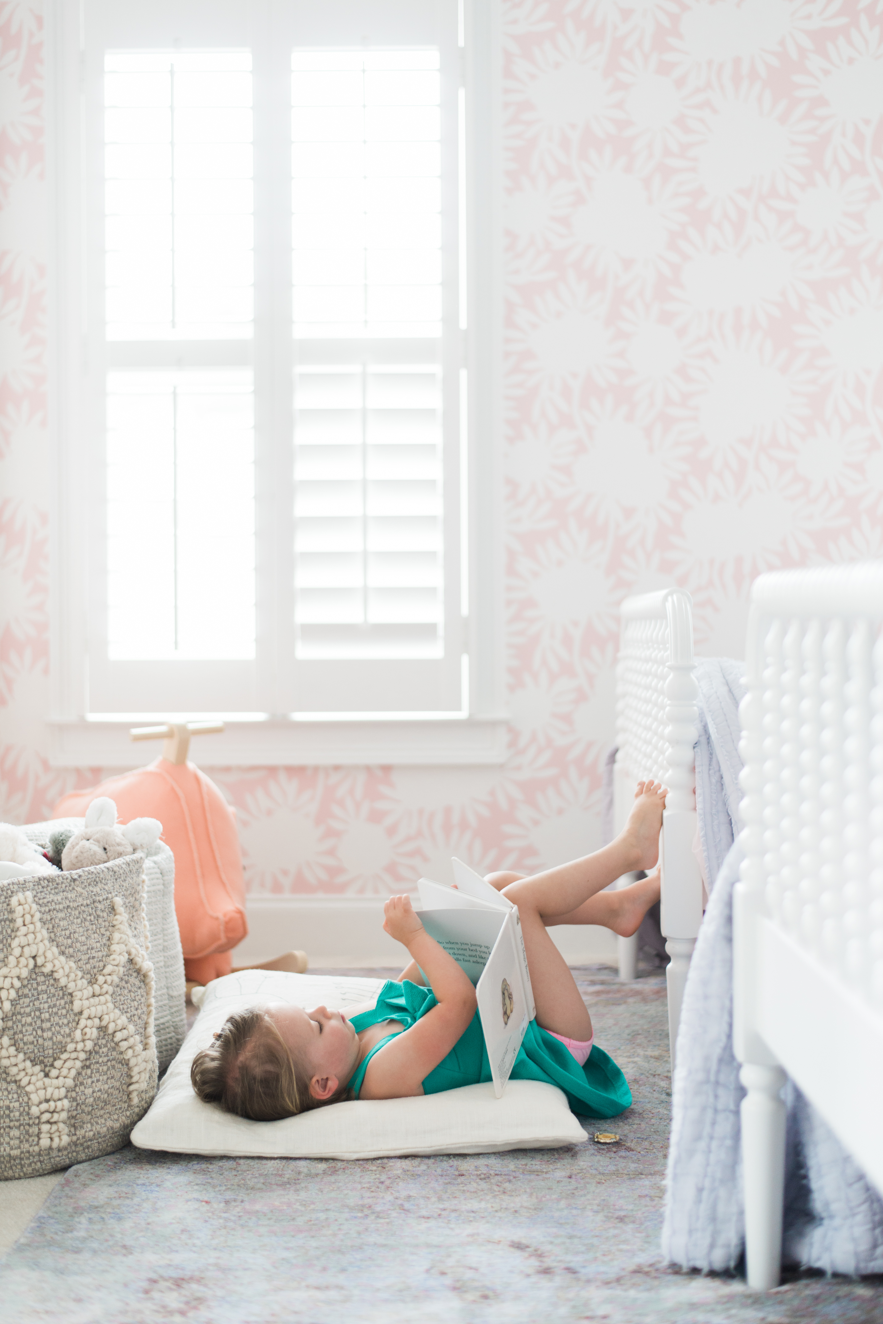 Pink and White Shared Toddler Room