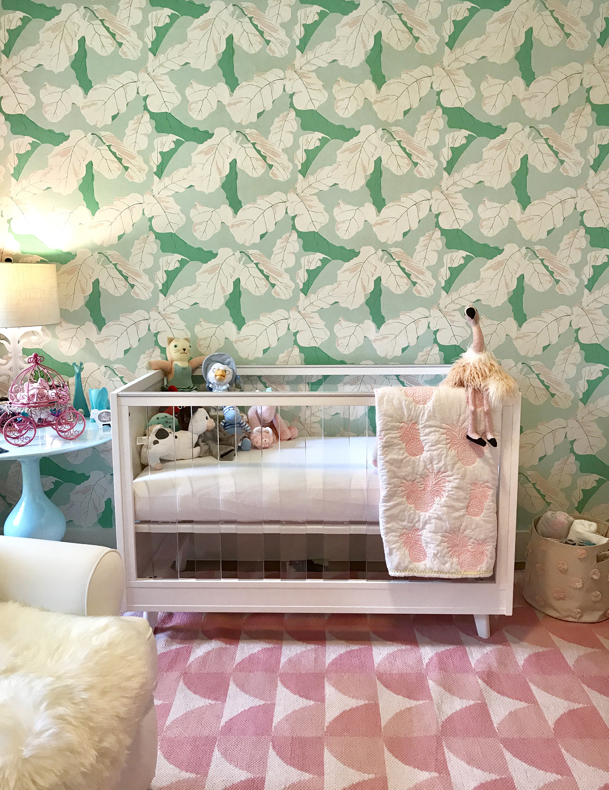 Pink and Green Tropical Wallpaper Girl's Nursery