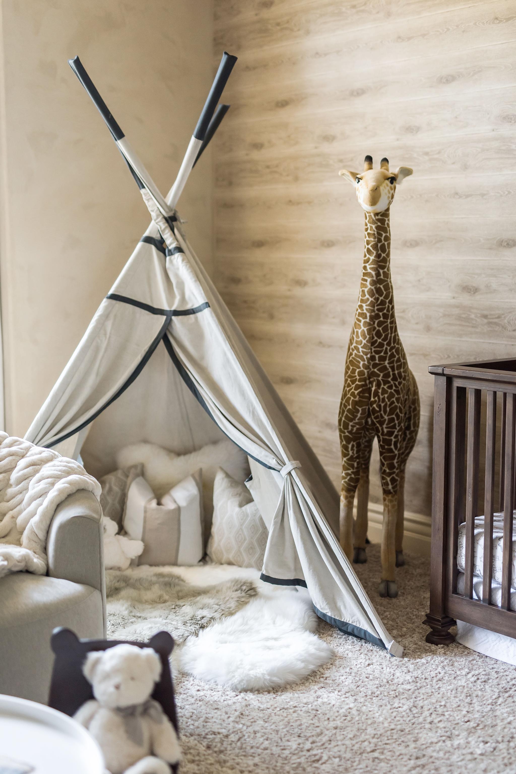Safari Nursery with Teepee and Large Giraffe