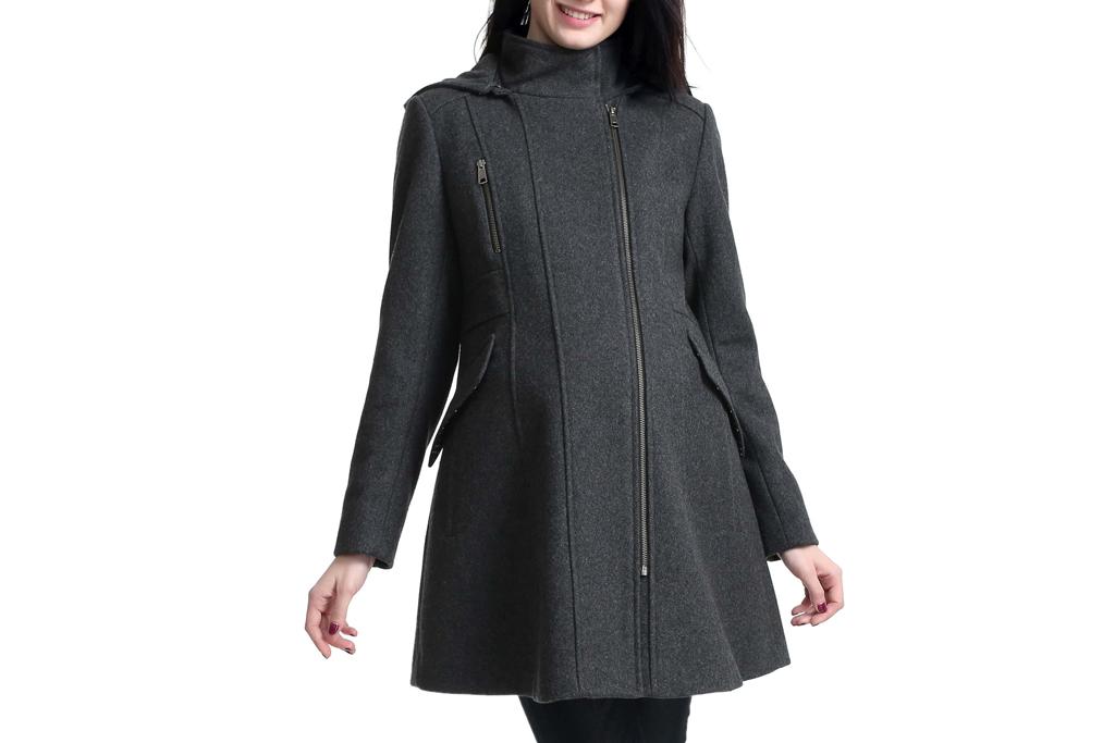 Cordella Wool Blend Hooded Maternity Coat