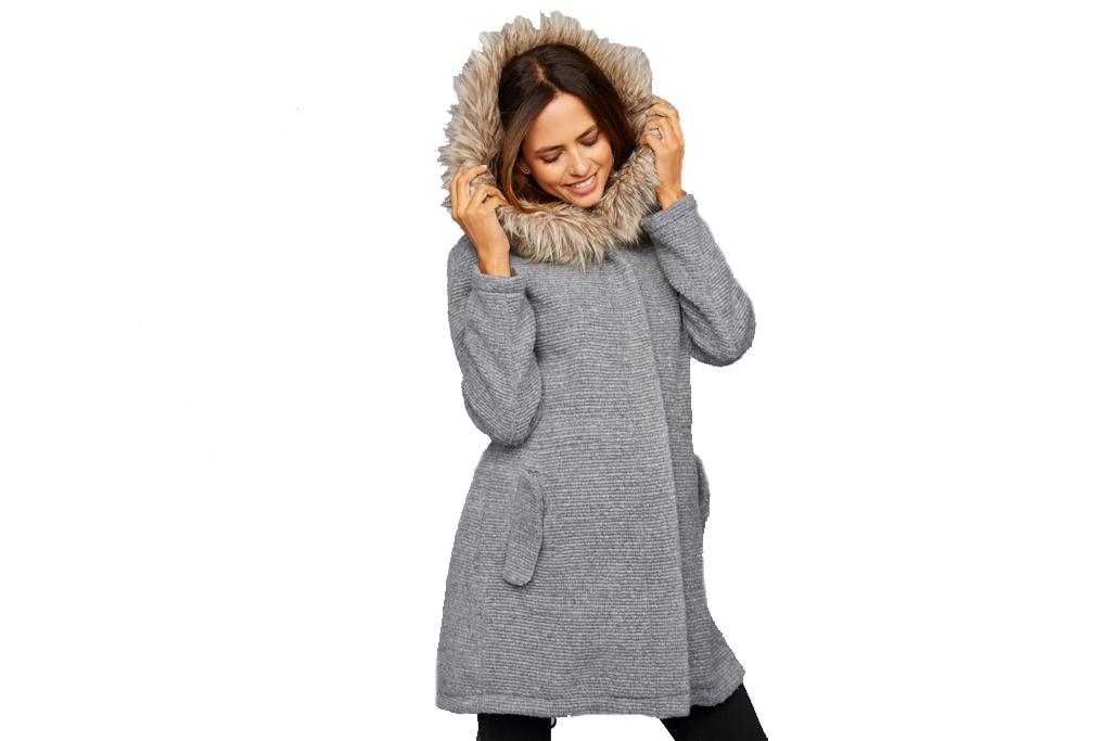 BB Dakota Faux Fur Textured Maternity Coat