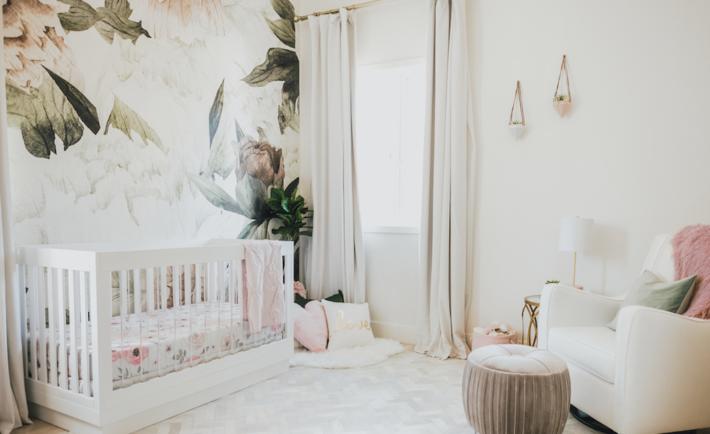 Blush Floral Mural Nursery