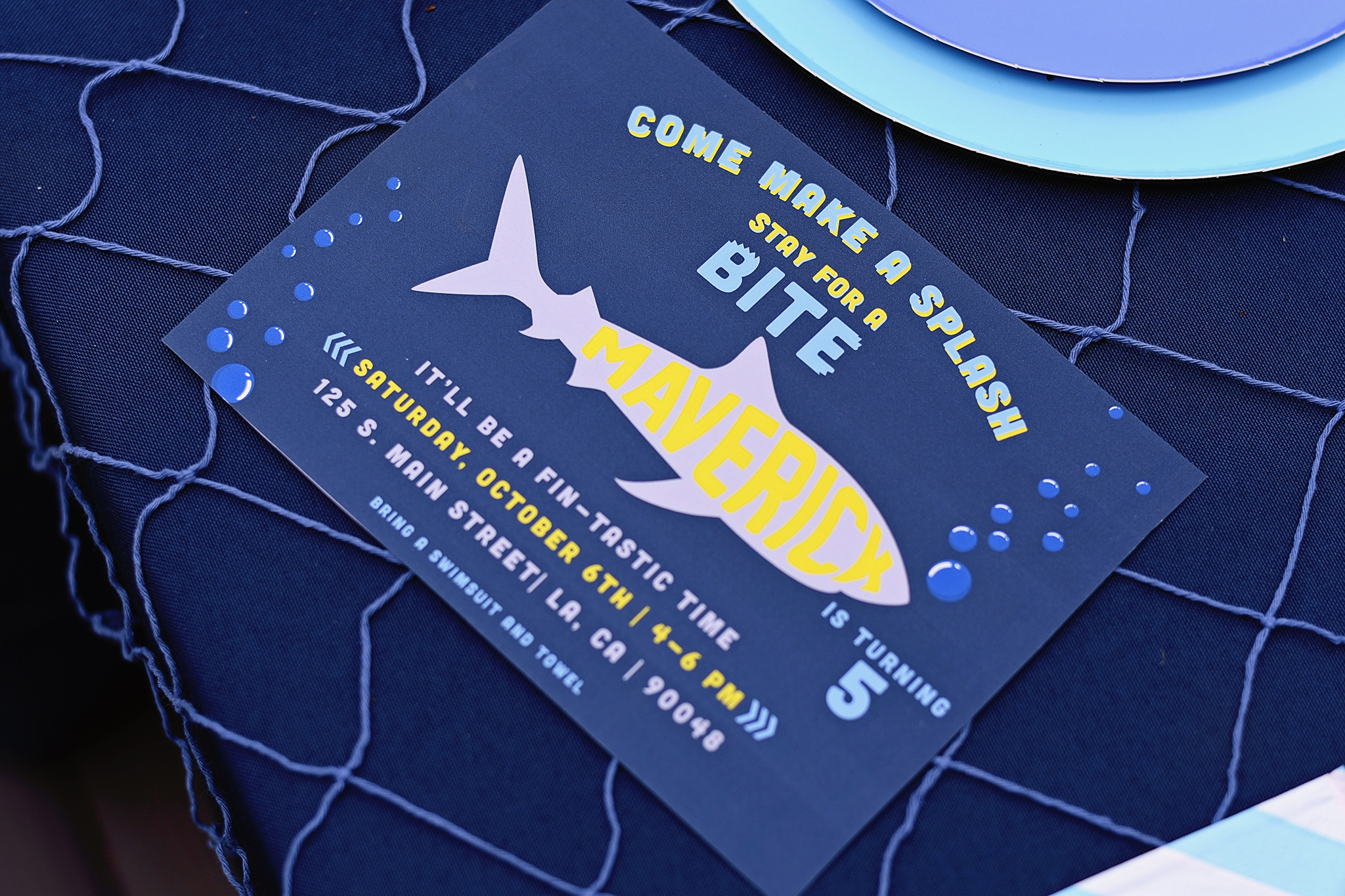 shark party invitations with your name in the shark!