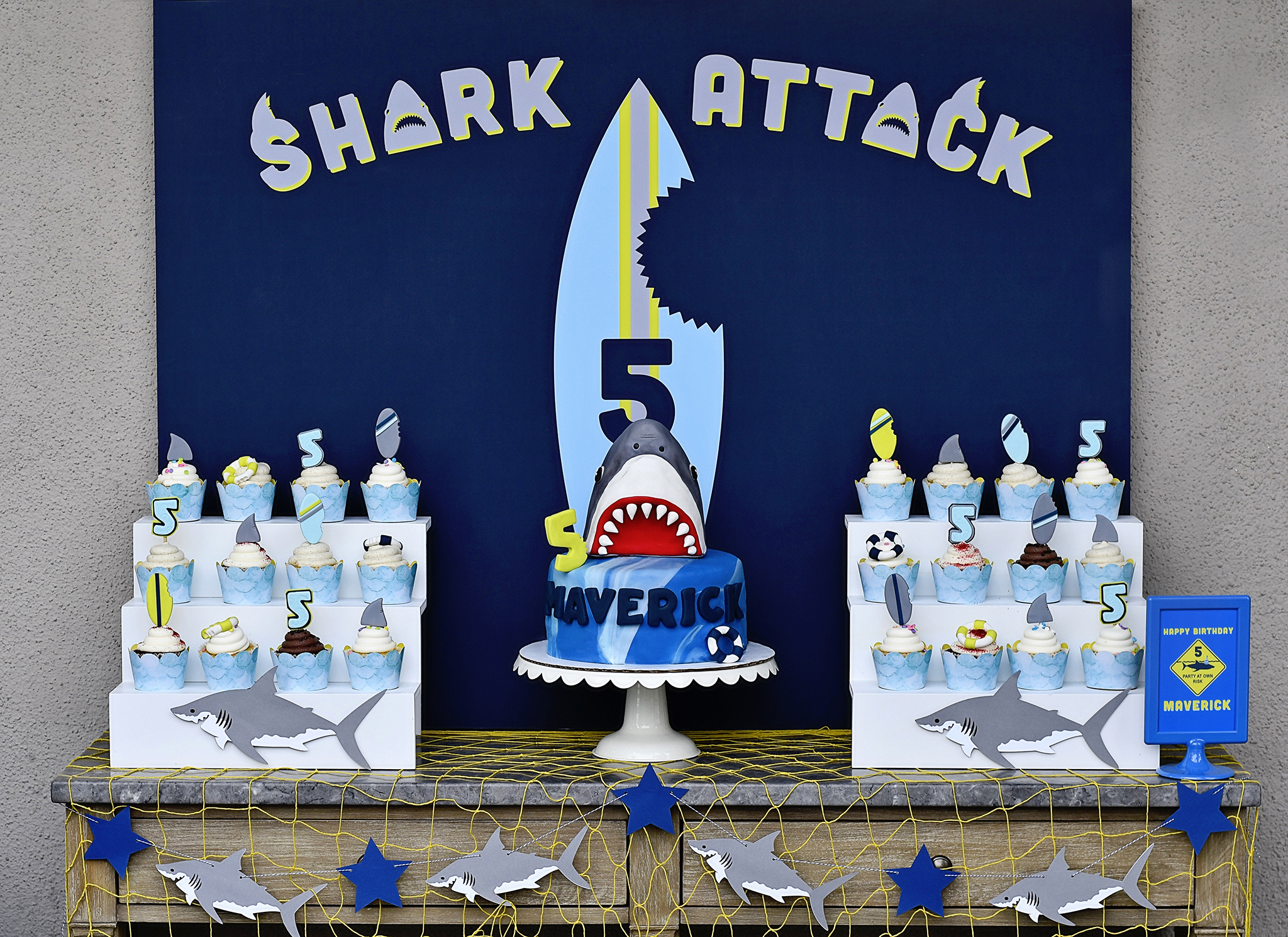 shark attach cake table backdrop