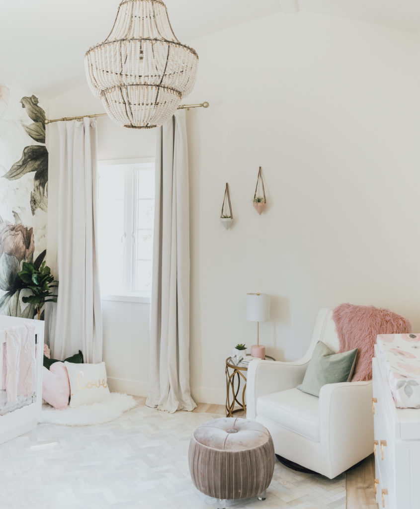 White Nursery with Floral Accents by Little Crown Interiors