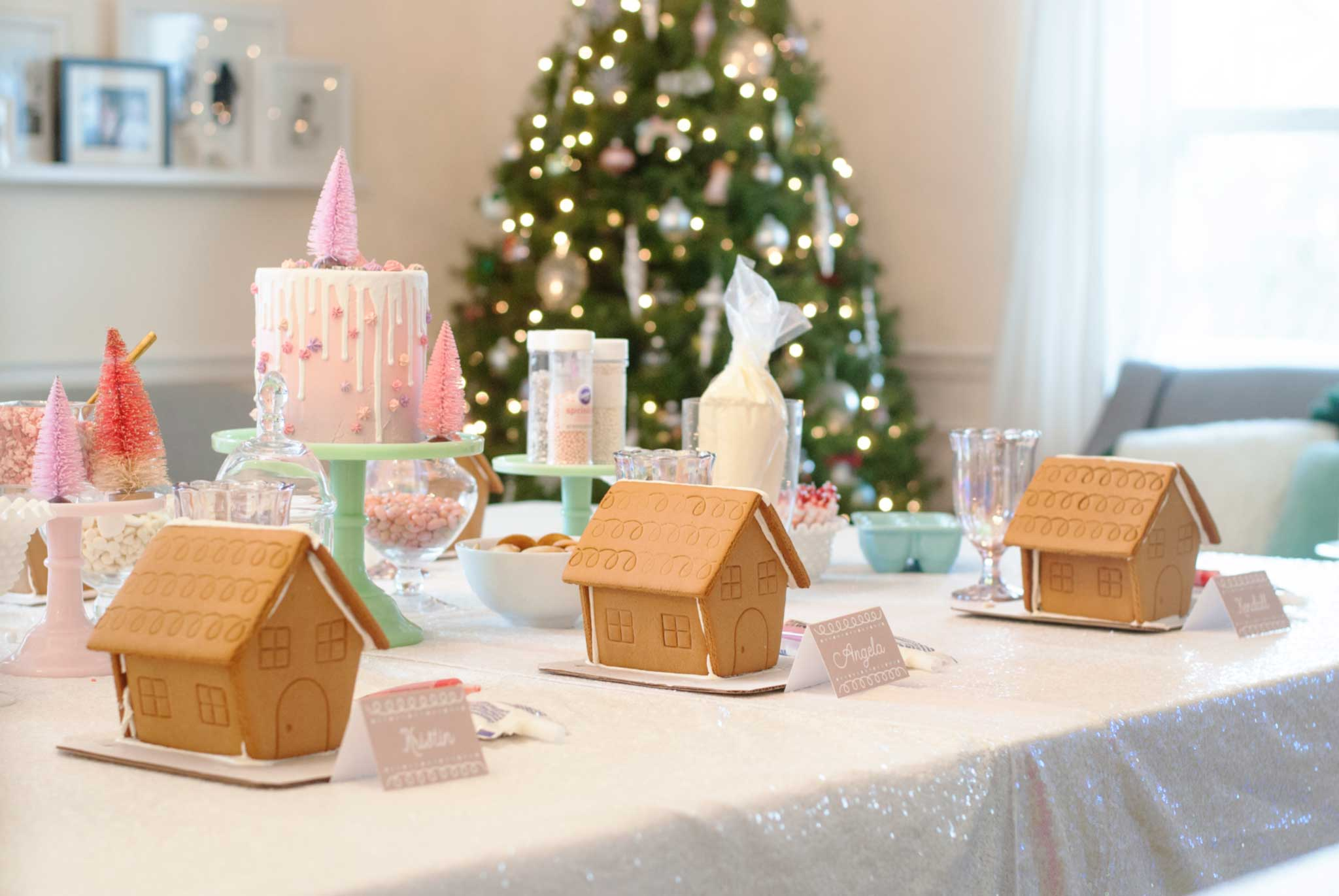 Pretty in Pink Gingerbread House Decorating Party