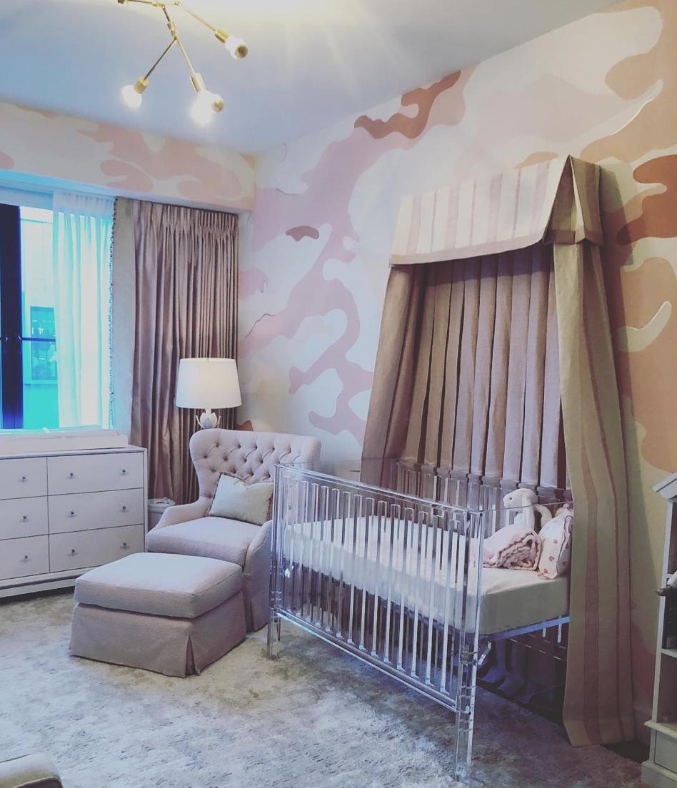 Dina Bandman Pink Camouflage Nursery Design